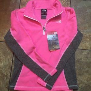 NWT Girls North Face 1/4 zip fleece pullover
